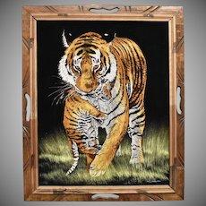 Circa 1970s Signed Diane Black Velvet Tiger Painting in Wood Frame - Mexico