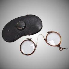 12k Gold Filled Antique Tortoise Shell Rim Round Pince-nez Spectacles w/ Original Case