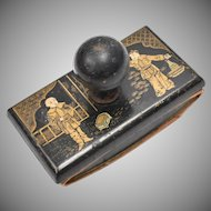 Antique Oriental Black & Gold Intricately Painted Asian Men Wood Ink Blotter