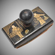 Antique Oriental Black & Gold Intricately Painted Asian Men Wood Ink Blotter