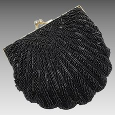 La Regale Black Beaded Kiss Lock Clam Shell Handbag/Clutch w/ Optional Chain
