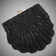 La Regale Black Beaded Kiss Lock Clam Shell Handbag/Clutch w/ Optional Chain
