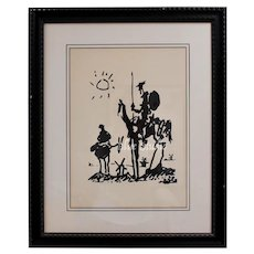 "Circa 1955 Pablo Picasso ""Don Quixote"" Abstract Art Lithograph Print in Black Wood Frame"
