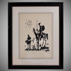 """Circa 1955 Pablo Picasso """"Don Quixote"""" Abstract Art Lithograph Print in Black Wood Frame"""