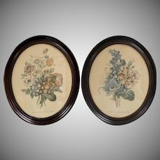 "Pair of 20"" Large Victorian Flower Art Prints in Genuine Wood Oval Frame"