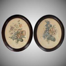 "Pair of 20"" Large Victorian Flower Art Prints in Genuine Wood Oval Frame"