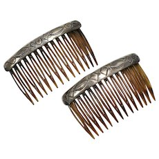 Sterling Silver Navajo Style Faux Tortoiseshell Hair Comb Pair