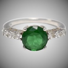 Sterling Silver Round Cut Emerald in Trellis Setting - Size 5
