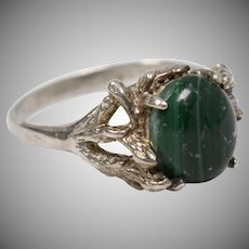 "Signed ""JP"" Sterling Silver & Malachite Ring - Size 7.5"