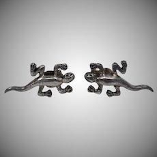 """Petite Sterling Silver Lizard """"Ear Climber"""" Pierced Earrings"""