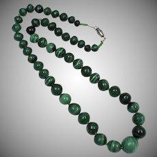 Green Malachite & Glass Bead Necklace w/ Barrel Clasp