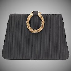 Lewis Signed Black Ribbed Fabric Evening Purse/Handbag w/ Braided Goldtone Wreath Double Handles