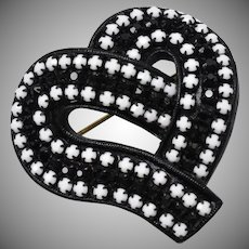 "Signed ""LMD"" Black Japanned Metal White & Black Rhinestone Heart Pin/Brooch"