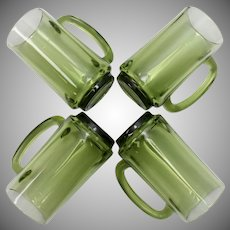 Set of 4 Tall Green Glass Beer or Patio Mugs