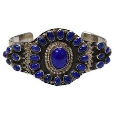 Signed NB Navajo Silversmith Large Sterling Silver Lapis Lazuli Heavy Cuff Bracelet