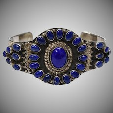 Signed NB Navajo Silversmith Large Sterling Silver Lapis Lazuli Heavy Cuff Bracelet