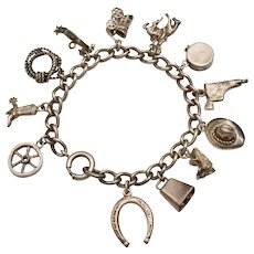 Sterling Silver Western or Country Cowboy Themed Charm Bracelet