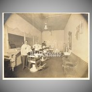 """Circa 1890s Men in Victorian Barbershop 12"""" Large Cabinet Card Photograph"""