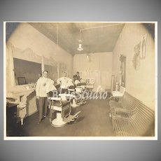 "Circa 1890s Men in Victorian Barbershop 12"" Large Cabinet Card Photograph"