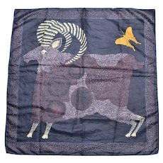 "Circa 1979 'Totes' Ram & Butterfly 28"" Water Repellent Rain Scarf"