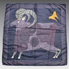 """Circa 1979 'Totes' Ram & Butterfly 28"""" Water Repellent Rain Scarf"""