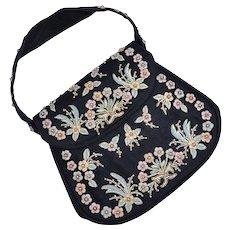 Marheta Signed Black Fabric Floral Embroidered & Beaded Evening Bag/ Handbag / Purse