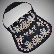 Marheta Signed Black Fabric Floral Embroidered & Beaded Evening Bag/ Handbag / Purse
