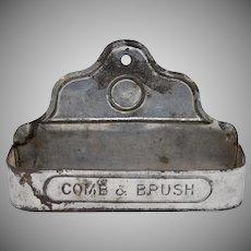 """Comb & Brush"" Rustic Tin Metal Vanity or Bathroom Wall Hanger / Holder"