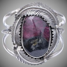 Signed Sterling Silver Huge Purple / Black Jasper Stone Native American Feather Cuff Bracelet
