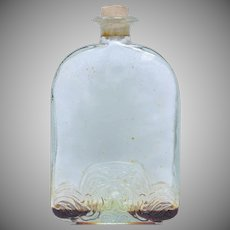 Circa 1920s Embossed Art Deco Glass Perfume Bottle w/ Original Old Perfume