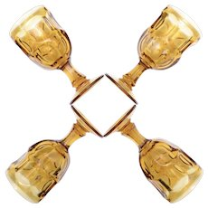 Set of 4 Libbey Rock Sharpe Ashburton Amber Glass Water or Wine Goblets