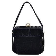 Circa 1940s Black Velvet Fabric Chunky Double Ball Clasp Box Style Evening Purse / Handbag