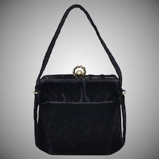 Circa 1940s Black Velvet Fabric Chunky Double Ball Clasp Box Style Evening Purse / Handbag