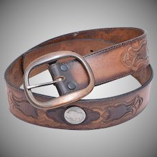 Leegin Tooled Genuine Leather Belt w/ 5 Cent Buffalo Coin Embellishment & Brass Buckle