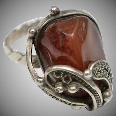 Sterling Silver Filigree & Carnelian Stone Ring - Size 7 3/4