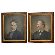 Circa 1885 Amazing Pair of Victorian Era Antique Pastel Smiling Husband & Serious Wife Portrait Paintings