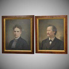 Circa 1885 Amazing Pair of Victorian Era Antique Pastel Smiling Husband & Serious Wife Portrait Paintings