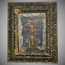 "Circa 1877 ""Thy Kingdom Come"" Victorian Christian Cross Crucifix Religious Diorama/Shadow Box in Original Ornate Wood Frame"