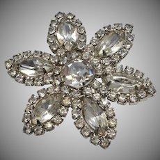 Glass Rhinestone Flower Brooch/Pin