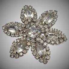 Large Sparkly Clear Prong Set Rhinestone Flower Brooch/Pin