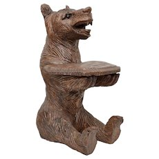 """Early 13"""" Hand Carved Genuine Wood Bear w/ Glass Eyes Sculpture w/ Small Tray ~ Perfect for Business Cards"""