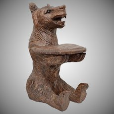 "Early 13"" Hand Carved Genuine Wood Bear w/ Glass Eyes Sculpture w/ Small Tray ~ Perfect for Business Cards"