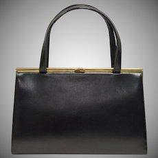 Signed Block Black Leather Purse/Handbag w/ Goldtone Hardware