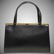 Signed Block Black Leather Purse/Handbag w/ Goldtone Hardware