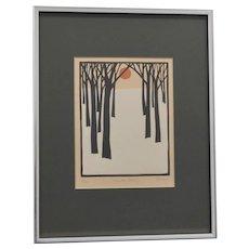 "Signed John Sovjani ""Winter Scene"" Numbered 9/100 Woodblock Art Print"