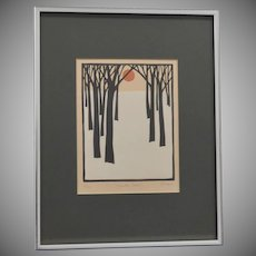 "Signed John Sovjani ""Winter Scene"" Numbered 9/100 Woodblock Art Print"