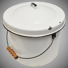 Large White Enamel Slop Bucket  w/ Original Lid & Wood Handle ~ Great Primitive Decor