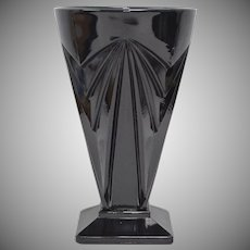 Indiana Glass Black Amethyst Pyramid Footed Tea Tumbler