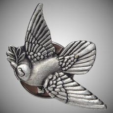Signed Pewter Dove Bird w/ Olive Branch Pin / Tie Tack