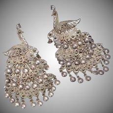 Sterling Silver Peacock Filigree Dangle Earrings
